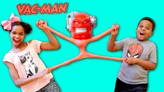GIANT VAC MAN vs Shiloh and Shasha - STRETCH ARMSTRONG ENEMY! - Onyx Kids
