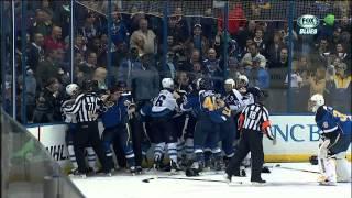 David Backes EN goal 4-1. Giant scrum. last 1:30. Winnipeg Jets vs St. Louis Blues 3/17/14 NHL