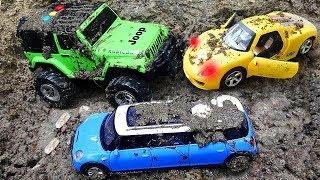 Fine Toys Construction Vehicles Looking for cars in the sand | Toys for kids