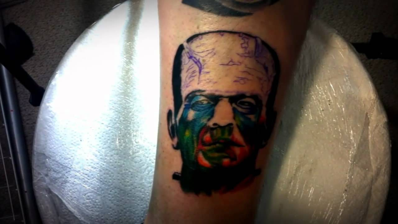 Alvaro tattoo hernandez frankenstein tattoo time lapse for Electric ink tattoo