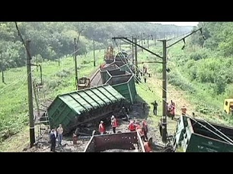 Russian freight train derailed in Ukraine - no comment