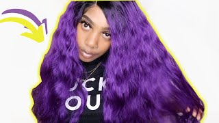 32 INCH Sensationnel PURPLE WIG!! Ft. Sams Beauty MM/Vivid Violet