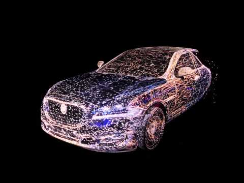 3D Mapping on a transparent Jaguar car Full HD