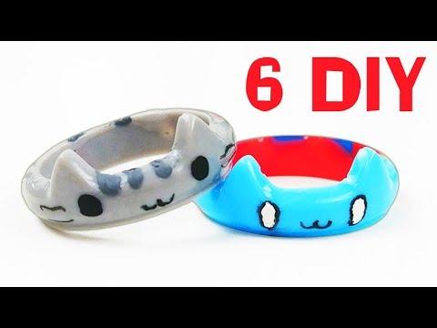 How To Make 6 Cats Resin Rings DIY Tutorial 5 minute crafts Pusheen Catbug Simons cat Nyan cat