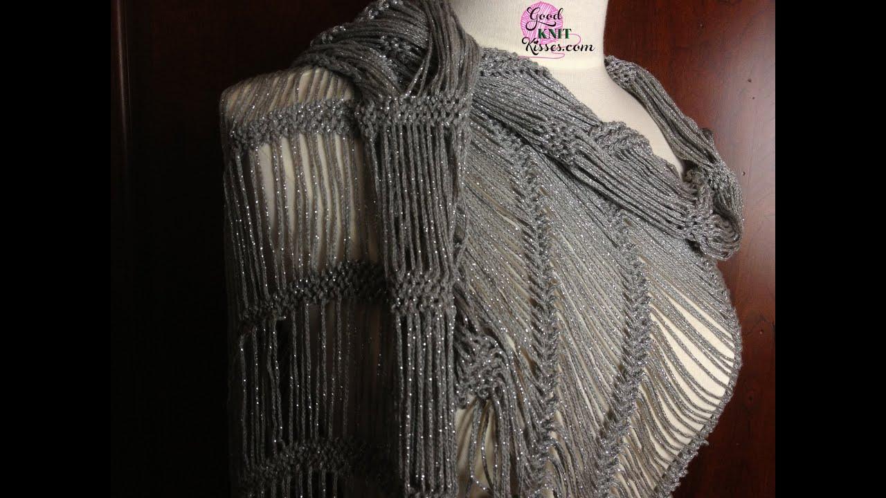 Dew Drop Wrap Free Crochet Pattern : Dew Drop Shawl loom along pattern on the AllnOne - YouTube