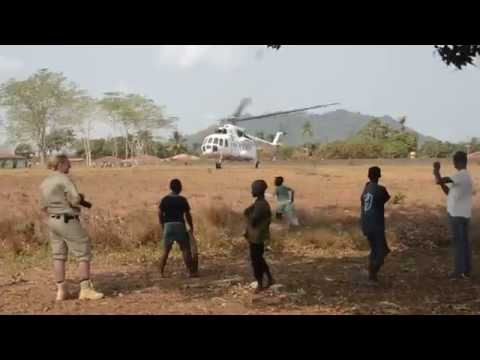 UN Helicopter takeoff - Moyamba, Sierra Leone - 03.02.2015