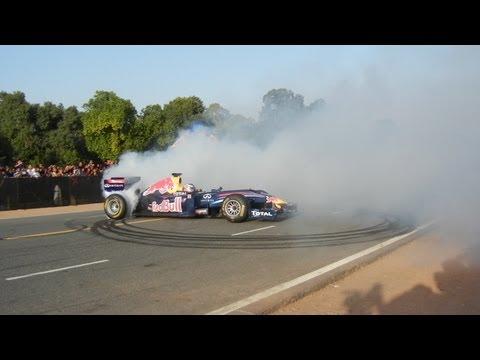Red Bull Formula 1 Car Doing Doughnuts On Rajpath Delhi