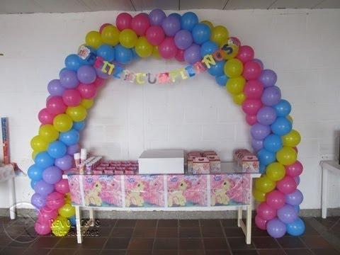 Decoracion con globos my little pony peque o pony youtube - Decorar con globos ...