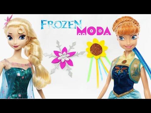 Haz pinzas / adornos para el pelo (Elsa / Anna) Frozen