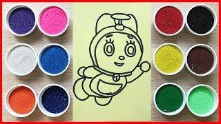 Đồ chơi TÔ MÀU TRANH CÁT mèo Đôrêmi em gái của Đôrêmon cùng chị Chim Xinh Learn Colors Sand Painting