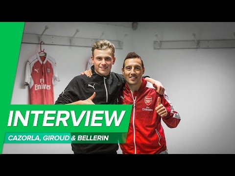 Speed quiz with Giroud, Cazorla & Bellerin in the Arsenal locker room