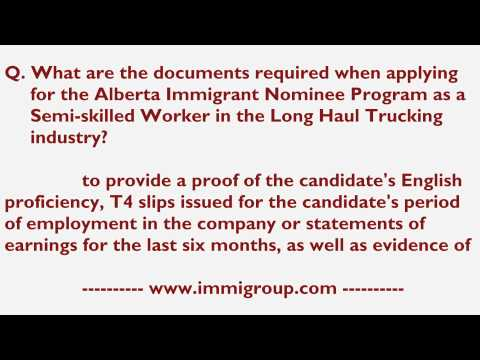 Documents required for AINP as a Semi-skilled Worker in the Long Haul Trucking industry
