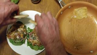 HOW TO MAKE CORNED BEEF EGG SWISS CHEESE SPINACH MUSTARD FLAT BREAD SANDWICHES