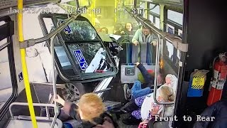 Unbelievable video shows passengers flying as truck crashes through bus in Syracuse