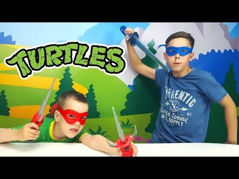 Набор игрушечного оружия серии ЧЕРЕПАШКИ-НИНДЗЯ MOVIE II -Леонардо и Рафаэля. Видео для детей