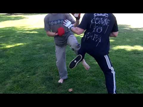 uechi ryu karate vs Muay Thai Boar Bando Sparring at Open Martial Arts Meetup Image 1