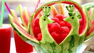 Art In Watermelon Peacock | Fruit & Vegetable Carving Lessons