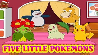 Pokemon Song - Five Little Monkeys Jumping On The Bed | Nursery rhymes songs for kids