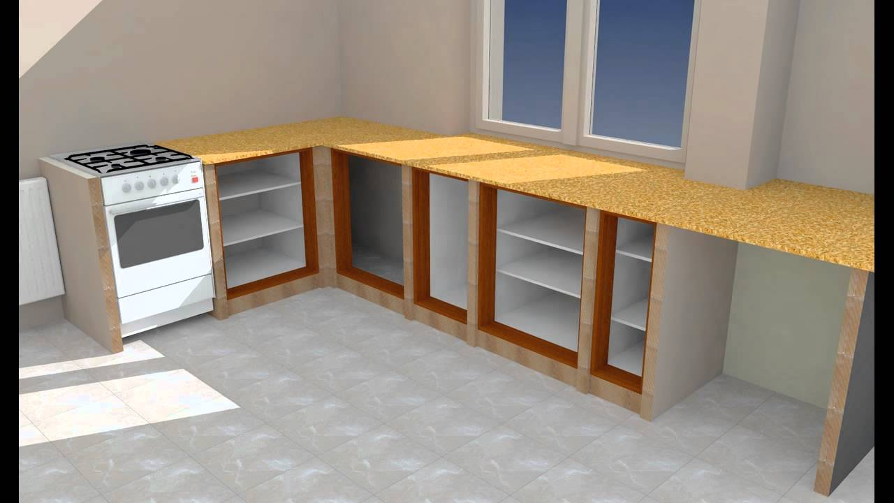 Meble murowane Kuchnia (Projekt, wizualizacja 3D)  YouTube -> Szafka Rogowa Kuchnia Wymiary