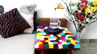 Stunning DIY Pom  Pom Rug for Living Room -  Pom Poms Made Easy