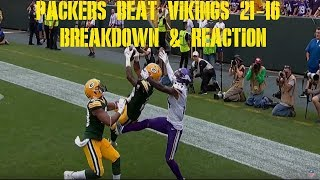 Packers Beat Vikings 21- 16 Reaction & Breakdown