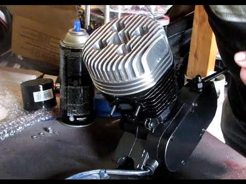 How To Paint Motorized Bicycle Motor & Install High Compression head