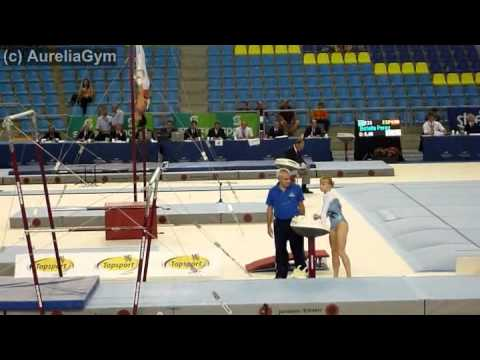 Valeria Maksyuta ISR UB qual Ghent 2011 - double front full out dismount!