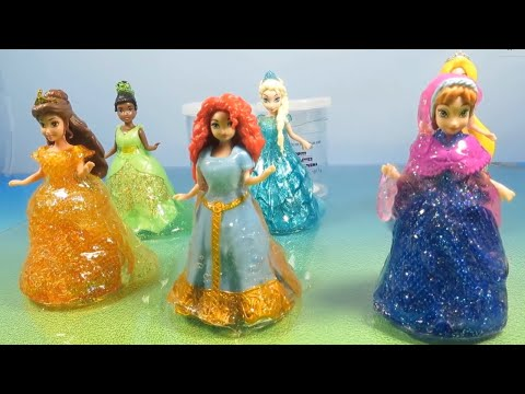 Glitter Putty Magiclip Princesses Dresses Frozen Elsa Anna Belle Tiana Merida Rapunzel