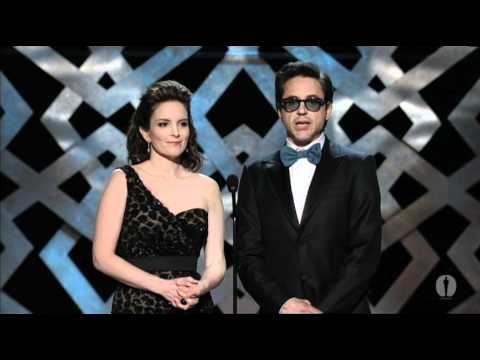Robert Downey Jr. and Tina Fey presenting Best Original Screenplay