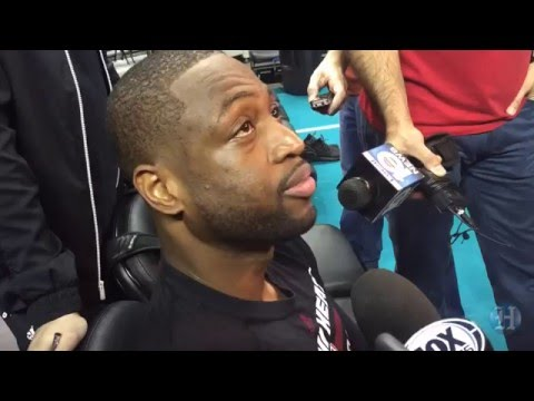 Miami Heat's Dwyane Wade talks to the media after Friday's practice
