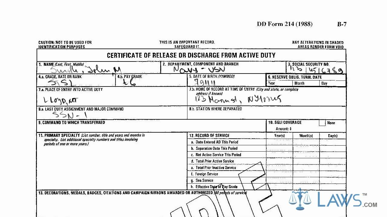 dd form 214 discharge certificate release duty active