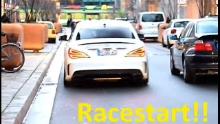 Mercedes CLA 45 AMG with red wheels - loud cracking revs, accelerations and Racestart!!!