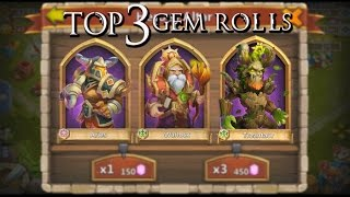 Castle Clash Top 3 Gem Rolls!