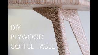 DIY Plywood Coffee Table - Herringbone Pattern