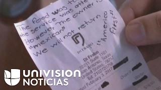 Mexicano dueño de un restaurante quedó sorprendido por mensaje racista que encontró en la factura
