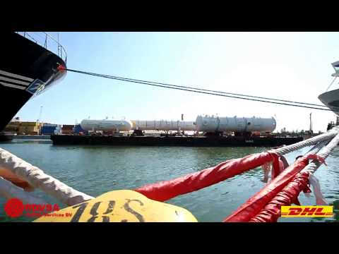 4000 tons of absorber tower, reactors and demethanizer moved (break bulk / oversize) by DHL. Video 1