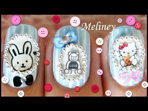 Cameo Nails - Portrait baby shower Animal nail designs Fimo Sticker & Stamping Nail Art S10