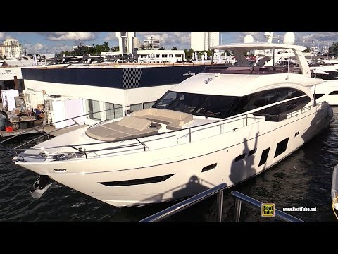 2019 Princess Y75 Luxury Yacht - Deck and Interior Walkaround - 2018 Fort Lauderdale Boat Show