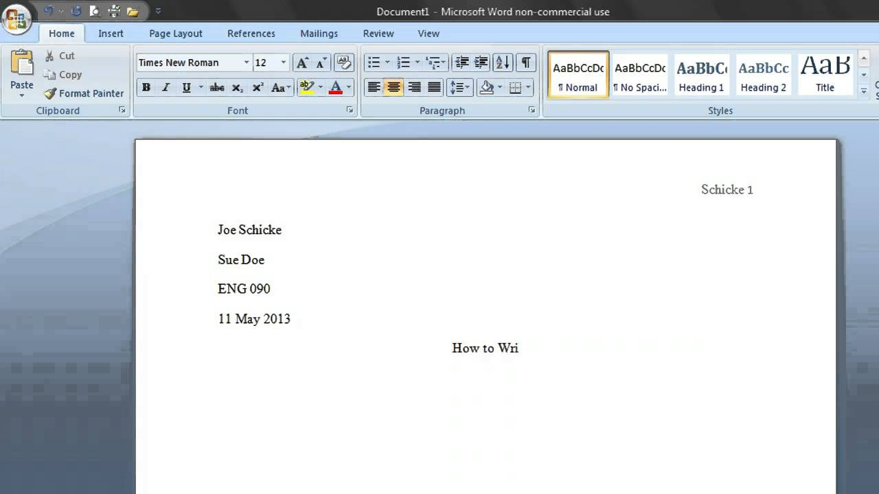 mla format sample word document
