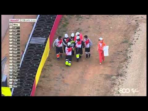 Valentino Rossi Crash Aragon 2014 + Slow Motion