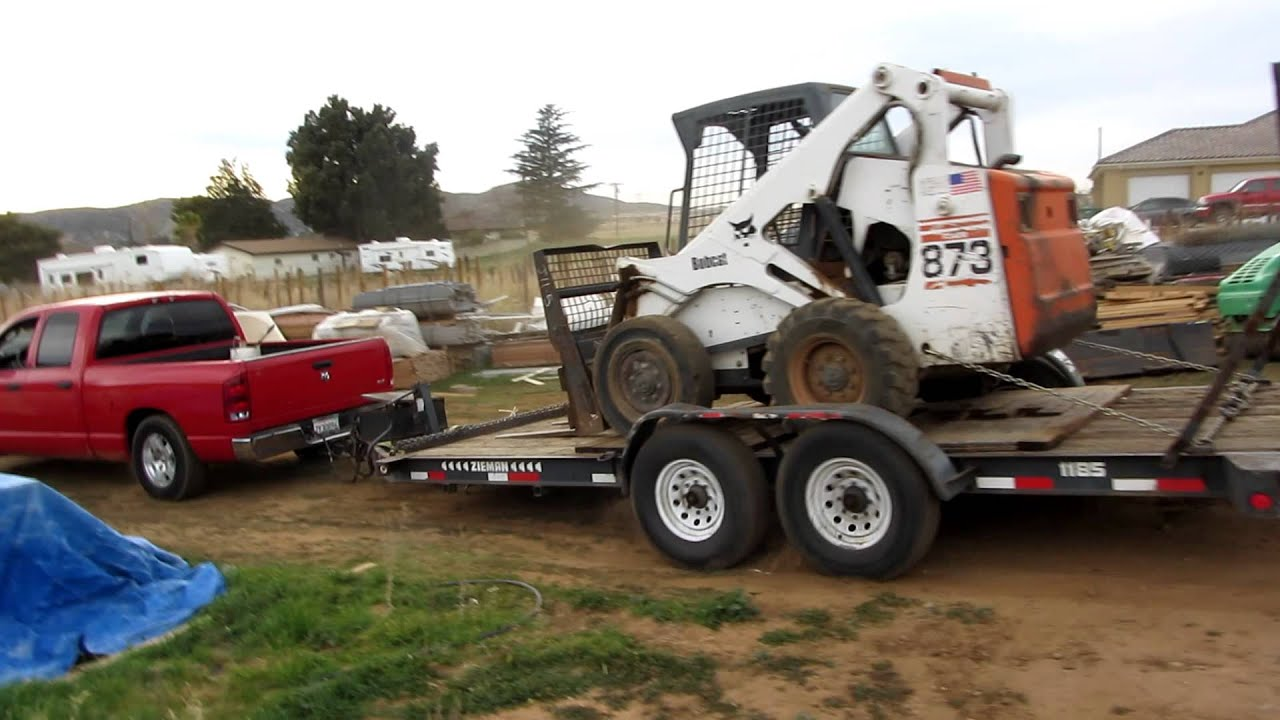 Dodge 1500 Ecodiesel >> Dodge Ram 1500 Hemi Trying to push trailer and bobcat up hill (part 2) - YouTube