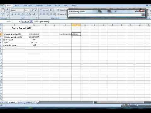 Cómo calcular en Excel el rendimiento de un bono