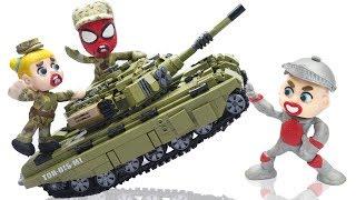 SUPERHERO BABY PLAYS LEGO MILITARY TANK 💖 Animation Cartoons Play Doh