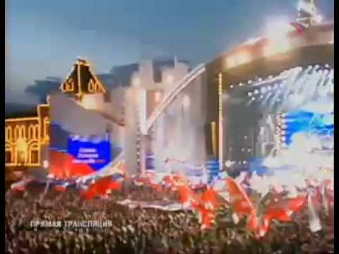Anthem of the Russian Federation performed by rock singers at the red square