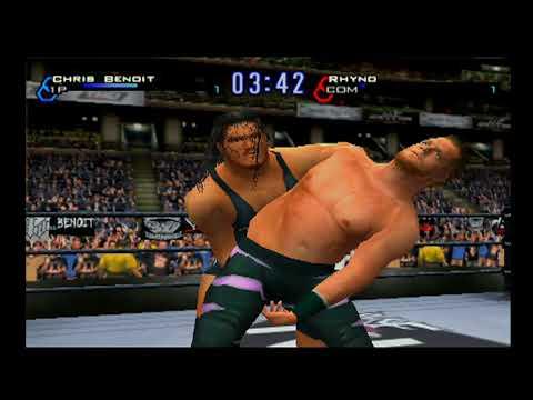 Chris Benoit vs Rhyno (WWF title) - WWF Smackdown! JBI (PS2) thumbnail