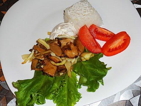 Кальмары с грибами и луком, готовим кальмары, блюдо из кальмаров