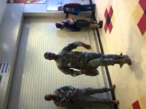 Us. Army dude rocks it at Falcon Middle School