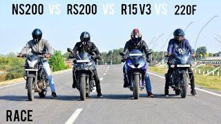 Yamaha R15 V3 VS Pulsar RS200 VS Pulsar NS200 VS Pulsar 220F | RACE | Highway Battle