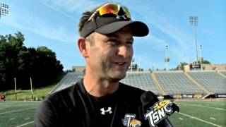 Towson Football Head Coach Rob Ambrose checks in following first day of practice