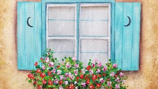 Floral Window Box Acrylic Painting LIVE Tutorial